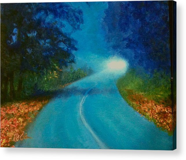 Oil Acrylic Print featuring the painting Quiet Road Home by PJ Acker