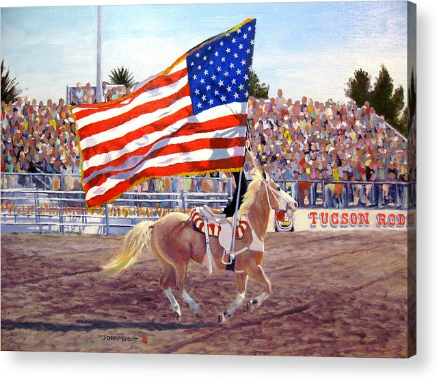 American Flag Southwestern Horse Cowboy Tucson Rodeo Acrylic Print featuring the painting American Beauty by John Watt
