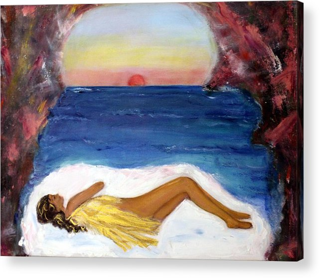 Landscape Acrylic Print featuring the painting Angel Sleeping by Michela Akers