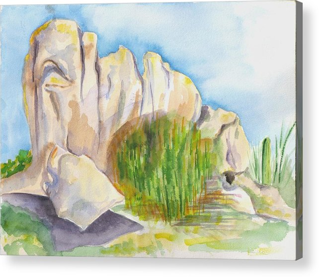 Landscape Acrylic Print featuring the painting Arboretum Rocks by Kathy Mitchell