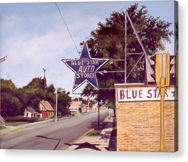 Landscape Harvey Illinois Acrylic Print featuring the painting Blue Star Auto by William Brody