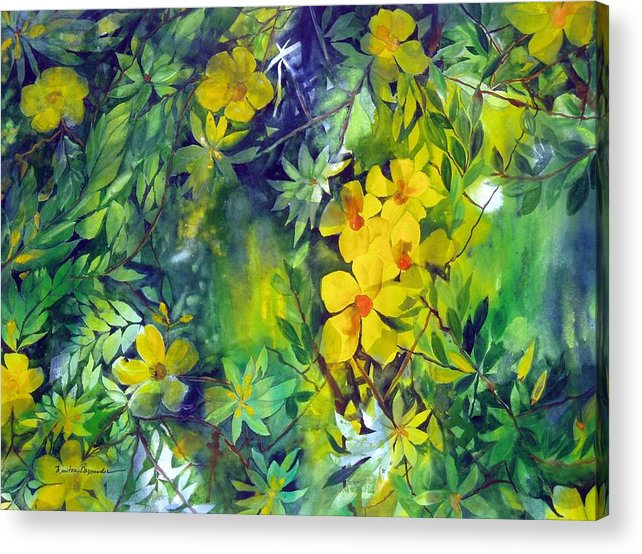 Tropical Plant. . Acrylic Print featuring the painting Canarias by Maritza Bermudez
