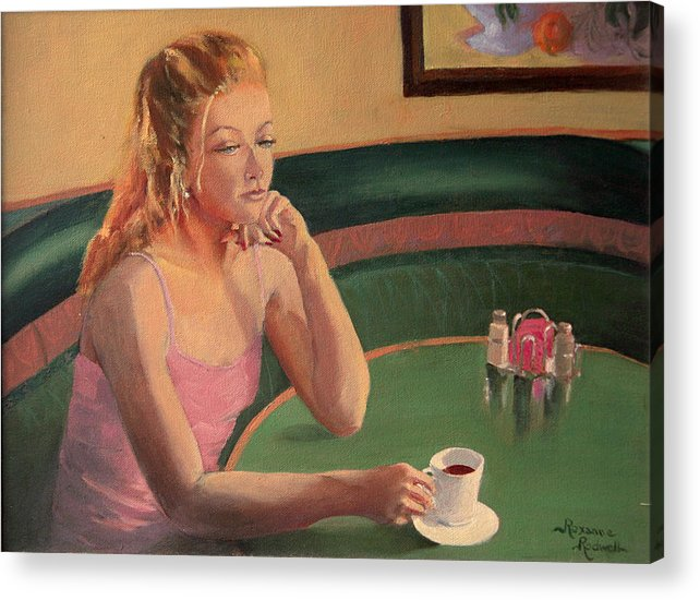 Figure Acrylic Print featuring the painting Coffee And Contemplation by Roxanne Rodwell