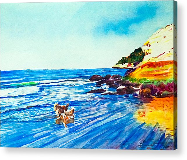 Seascape Acrylic Print featuring the painting In Paradise Of Dogs by Aymeric NOA