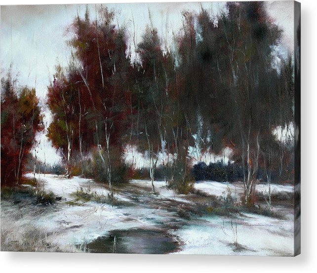 Winter Landscape Acrylic Print featuring the painting January Thaw by JoAnne Lussier