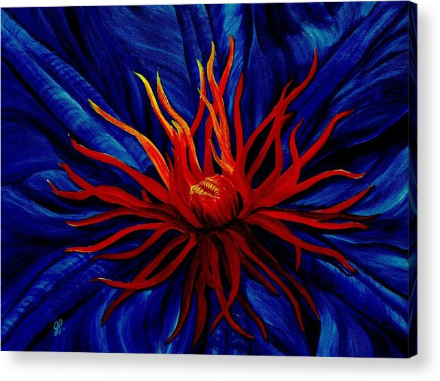 Macro Acrylic Print featuring the painting Orange Tango by Julie Pflanzer