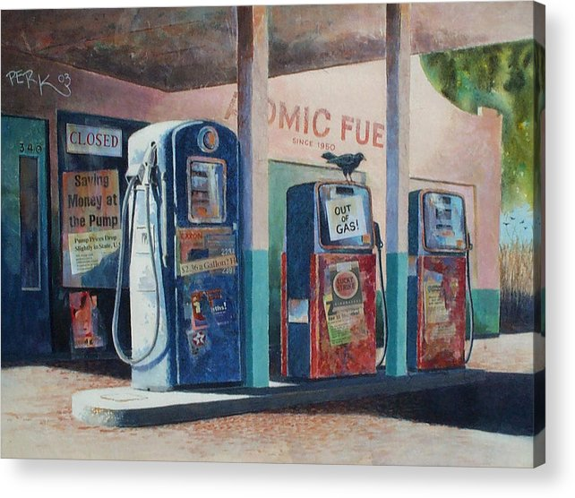 Nostalgic Genre Acrylic Print featuring the painting Out Of Gas by Don Trout