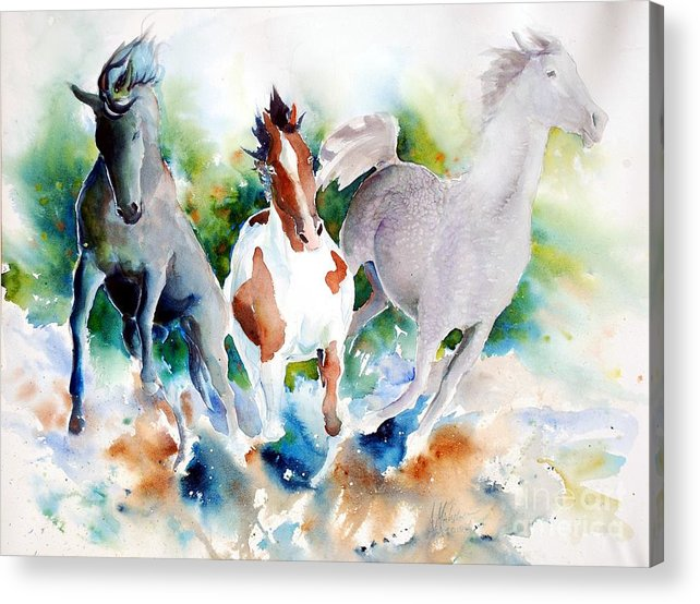 Horses Acrylic Print featuring the painting Out Of Nowhere by Christie Martin