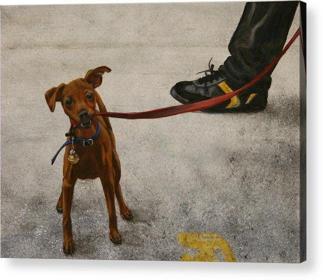 Dog Acrylic Print featuring the painting Pisa Puppy by Karen Peterson
