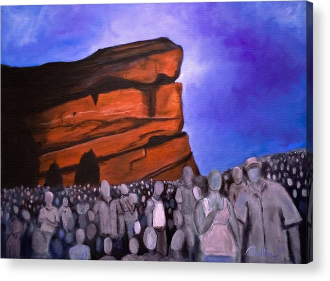Red Rocks Acrylic Print featuring the painting Red Rocks by Tabetha Landt-Hastings