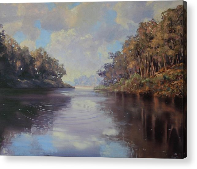 Oil On Canvas Acrylic Print featuring the painting River Peace by Michael Vires