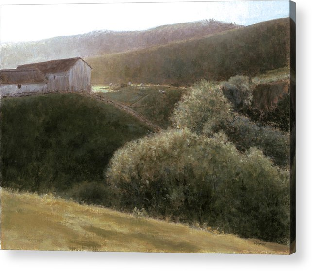 Landscape Acrylic Print featuring the painting Sunrise Central California by Laura Wynne