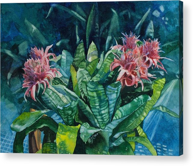 Floral Acrylic Print featuring the painting Two Against Three by Elizabeth Carr