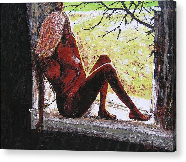 Portrait Acrylic Print featuring the painting Window View by Ricklene Wren