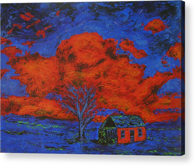 House Acrylic Print featuring the painting Reflections Of The Storm by Ricklene Wren