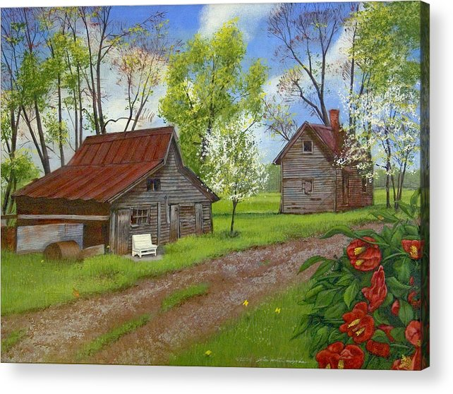 Landscape Acrylic Print featuring the painting The White Bench by Peter Muzyka