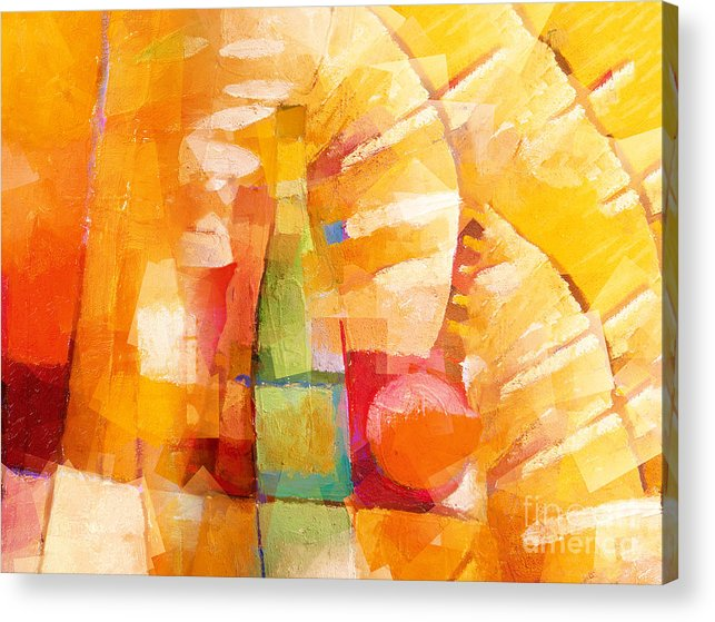 Bottle Cubic Acrylic Print featuring the painting Bottle Cubic by Lutz Baar