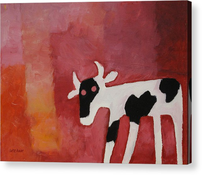 Little White Cow Acrylic Print featuring the painting Little White Cow by Lutz Baar