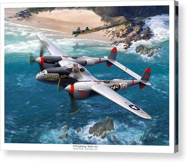 Airplanes Acrylic Print featuring the painting P-38 Lightning Battle Axe by Mark Karvon