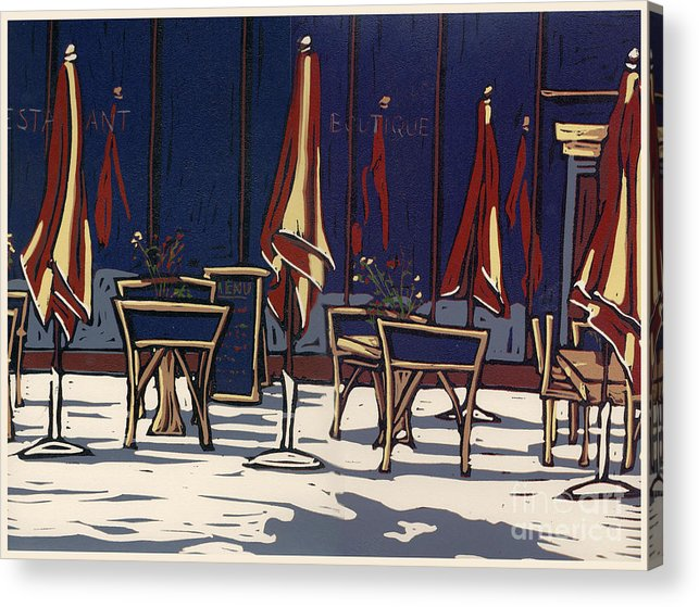 Limited Edition Acrylic Print featuring the painting Sidewalk Cafe - Linocut Print by Annie Laurie