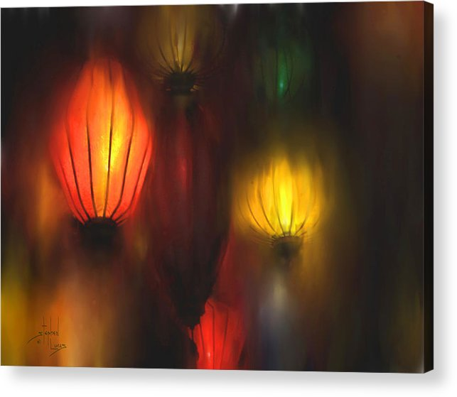 Lanterns Acrylic Print featuring the painting Orange Lantern by Stephen Lucas