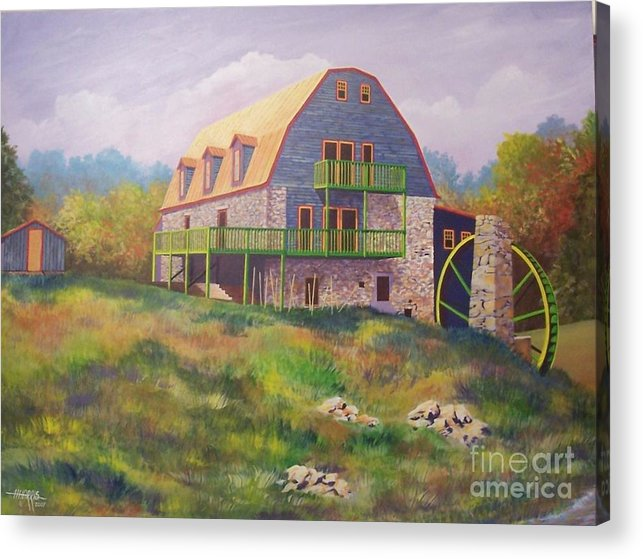 Mill Acrylic Print featuring the painting Mountain Mill by Hugh Harris