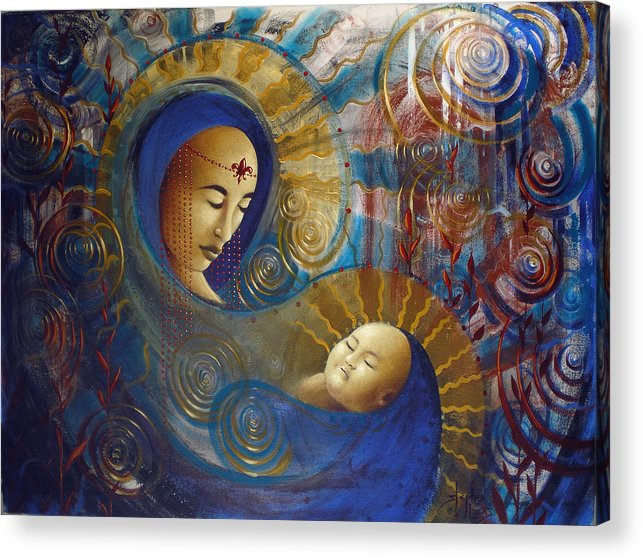 Oil Acrylic Print featuring the painting Primordial Mother Gives Birth To Solar Father by Stephen Lucas