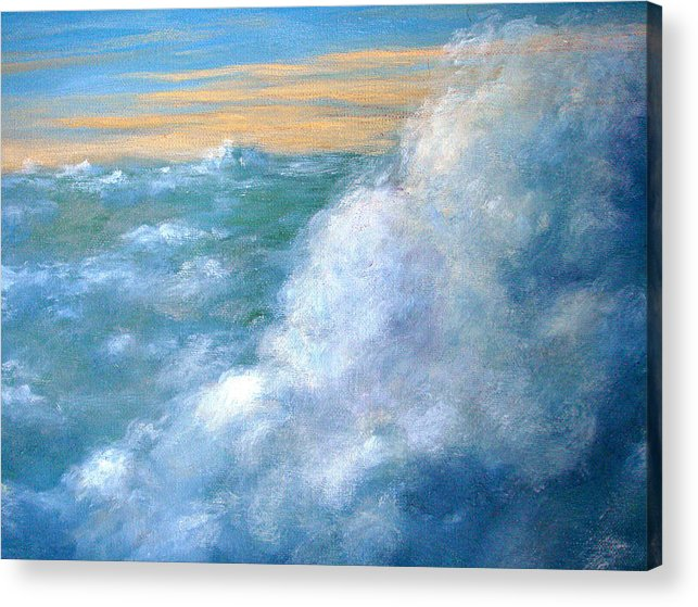 Landscape Acrylic Print featuring the painting Above The Clouds by Jeannette Ulrich
