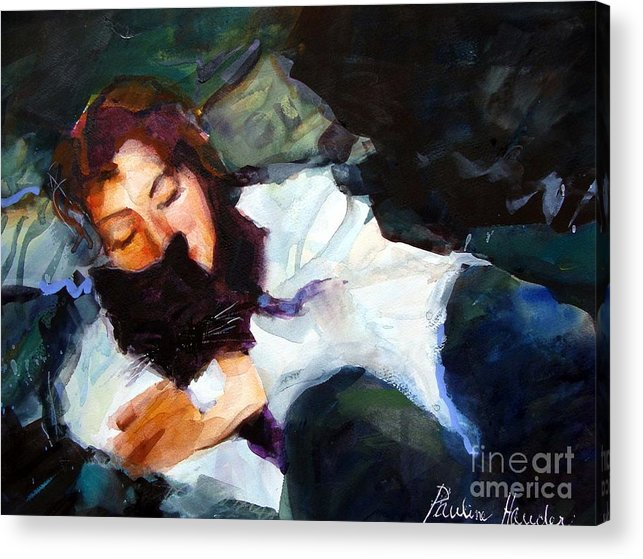 Portrait Acrylic Print featuring the painting All Is Well by Pauline Hauder