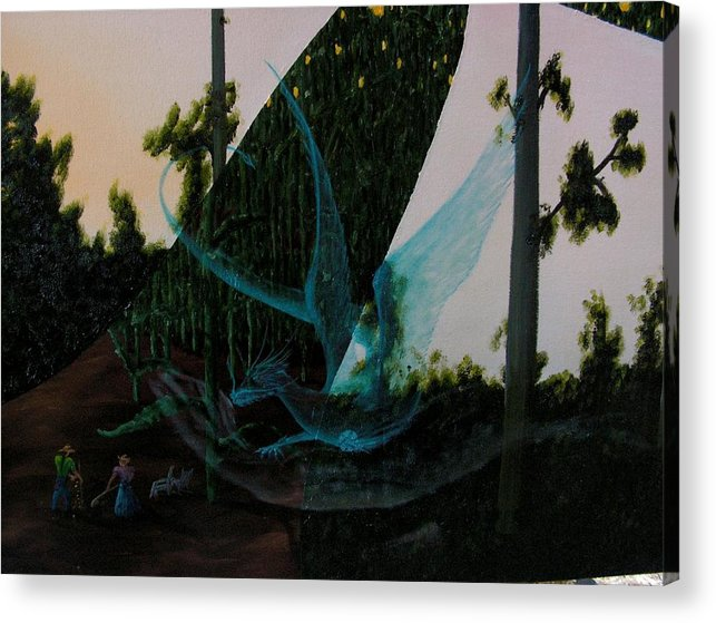 Dragon. Surreal Impressionism Acrylic Print featuring the painting Blue Dragon-detail by Ivan Rijhoff