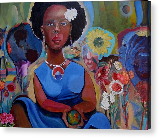 Global Warming Acrylic Print featuring the painting Blues For The Good Earth by Joyce Owens