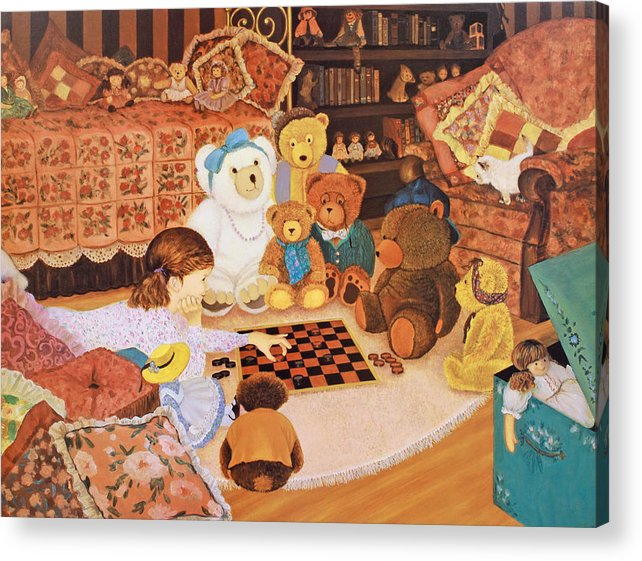 Teddy Bears Painting Acrylic Print featuring the painting Checker Mates by Susan Rinehart