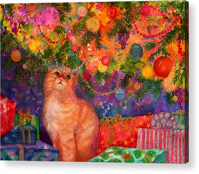 Kitty Acrylic Print featuring the painting Christmas Kitty by Valerie Aune