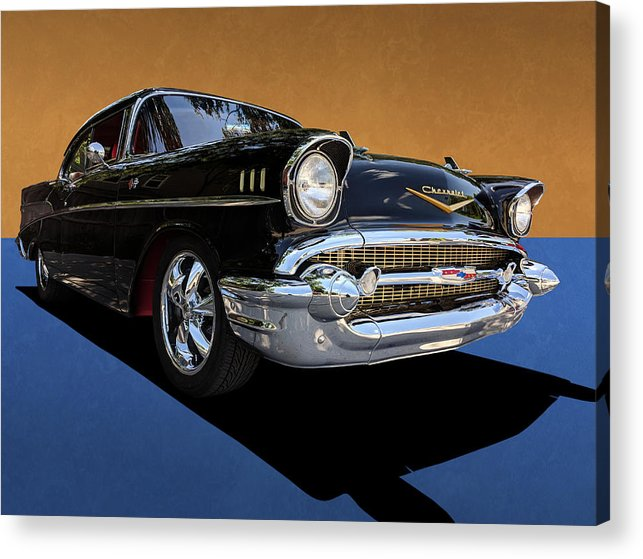 Studio Dalio - Classic Black Chevy Bel Air With Gold Trim Acrylic Print