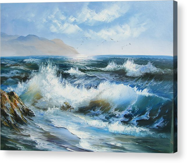 Seascape Acrylic Print featuring the painting Dancing Seagulls by Imagine Art Works Studio