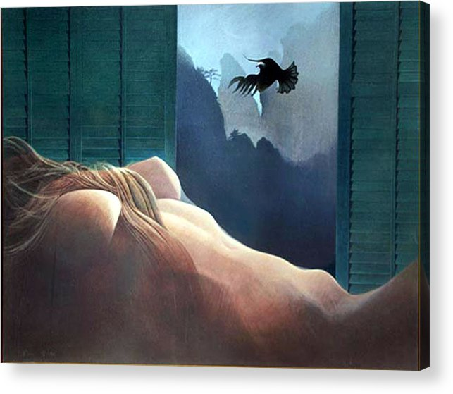 Nude Acrylic Print featuring the painting Femme Oiseau Montagne by James LeGros