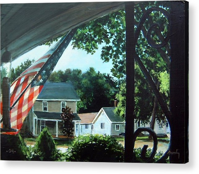 Landscape Acrylic Print featuring the painting Fourth Of July Morning by William Brody
