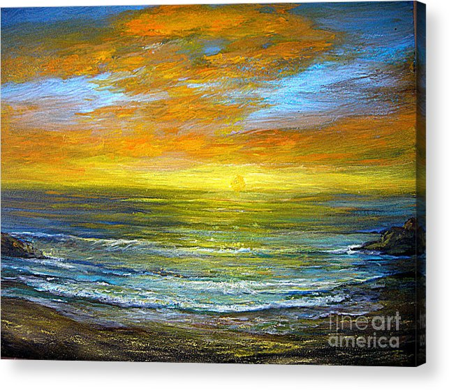 Seascapes Acrylic Print featuring the painting Golden Sunset by Jeannette Ulrich