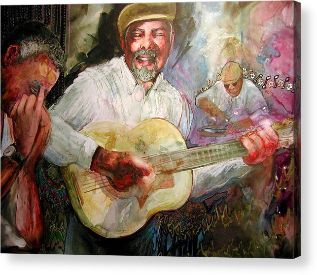 Music Acrylic Print featuring the painting Jazz Men In Phoenix by Wendy Hill
