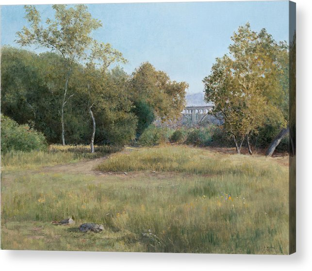 Landscape Acrylic Print featuring the painting Morning In The Arroyo Seco by Laura Wynne