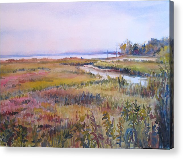 Watercolor Acrylic Print featuring the painting North Fork Marsh by Joyce Kanyuk