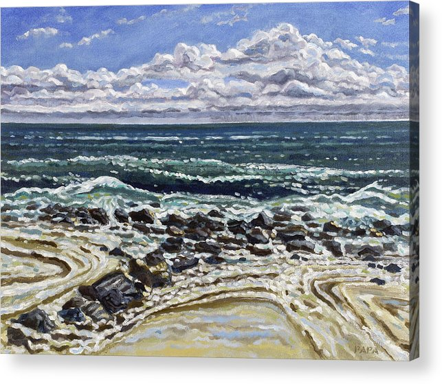 Ocean Acrylic Print featuring the painting Patterns In The Sand by Ralph Papa
