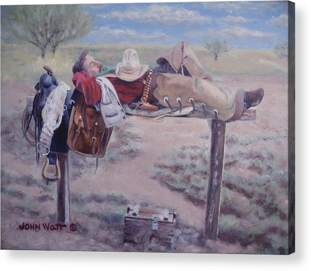 Empire Ranch Cowboy Acrylic Print featuring the painting Select Comfort by John Watt