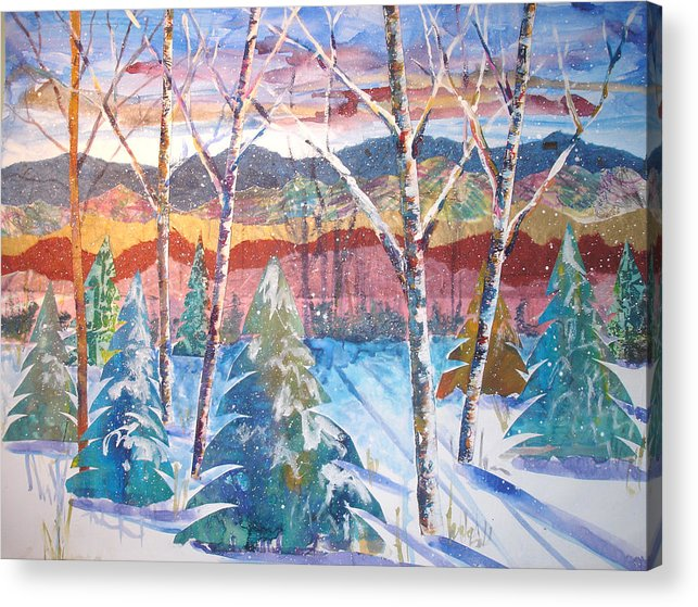 Landscape Acrylic Print featuring the mixed media snowy Afternoon by Joyce Kanyuk