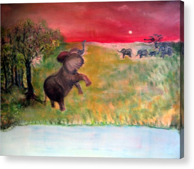 Wildlife Acrylic Print featuring the painting The Calling - Elephants On The Serengeti by Michela Akers