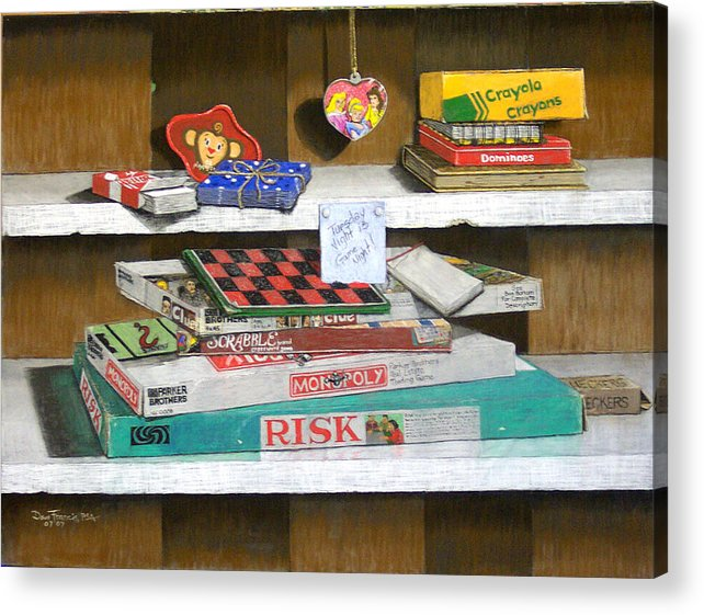 Still Life Acrylic Print featuring the painting The Game Shelf by David Francis