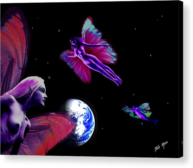 Fairy Acrylic Print featuring the painting Three For Home by Tray Mead
