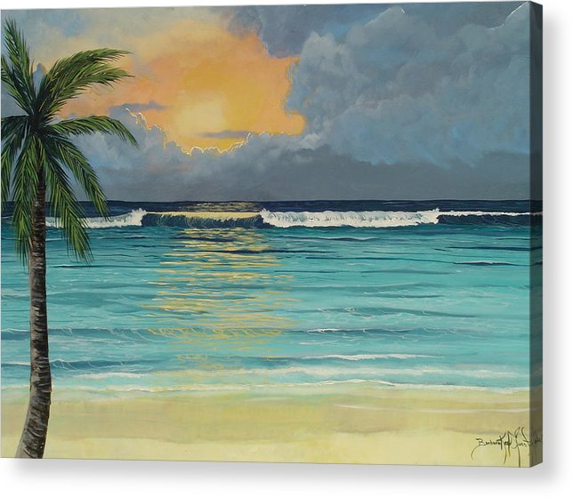 Ocean Acrylic Print featuring the painting Tranquil Sunset by Barbara Keel