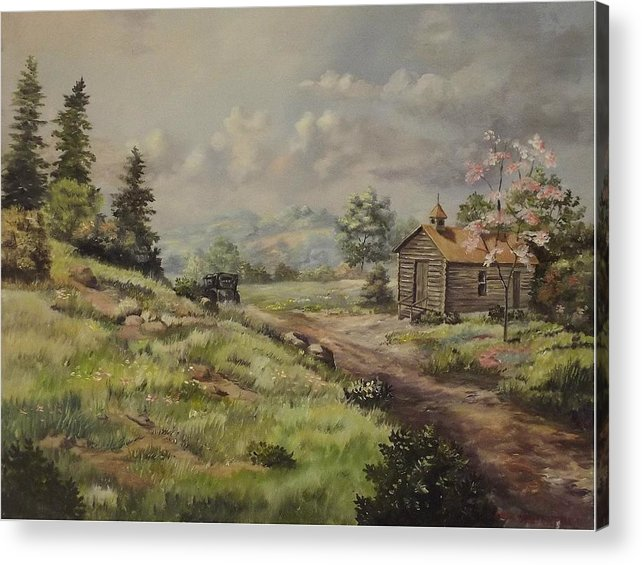 Landscape Acrylic Print featuring the painting Church In The Ozarks by Wanda Dansereau