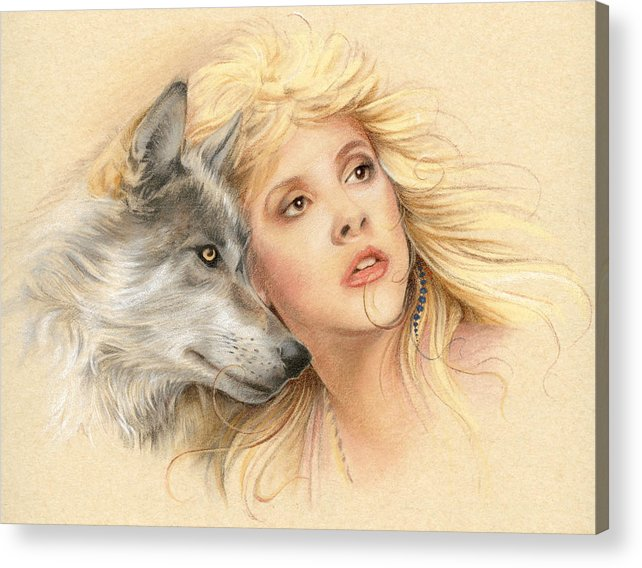 Stevie Nicks Acrylic Print featuring the drawing Beauty And The Beast by Johanna Pieterman